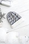 Зимняя ангоровая шапка бело-серого цвета, фото 2