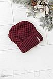 Зимняя бордовая шапка с широким отворотом, фото 2