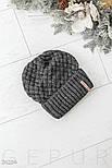 Зимняя серая шапка с широким отворотом, фото 2