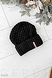 Зимняя черная шапка с широким отворотом, фото 2