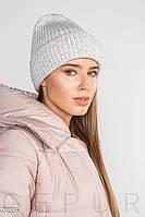 Теплая вязаная шапка с отворотом и флисовой подкладкой белая