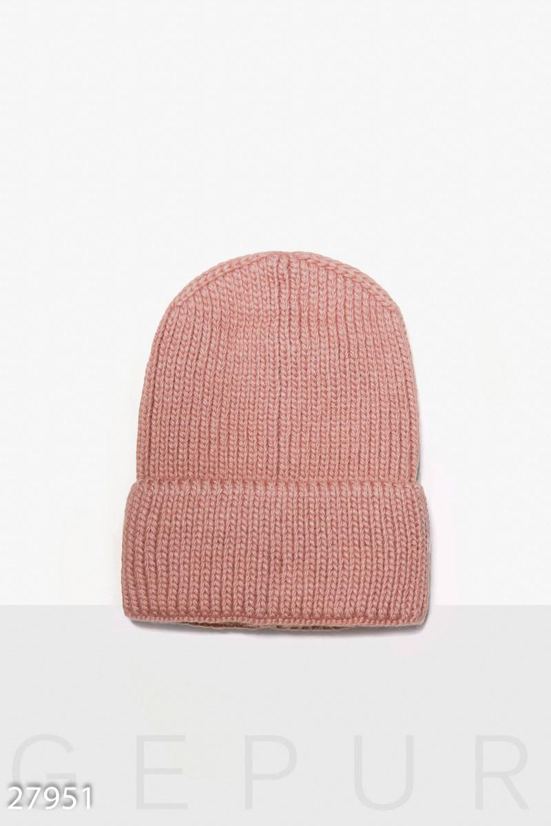 Зимняя вязаная шапка с отворотом и флисовой подкладкой розовая