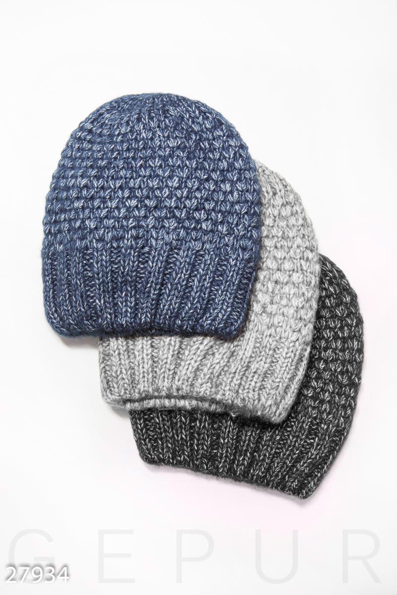 Вязаная синяя шапка с флисовым подкладом