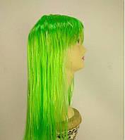 Парик с блестками с челкой длинный прямой зеленый 60см