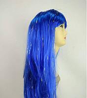 Парик с блестками длинный прямой синий с челкой 62 см