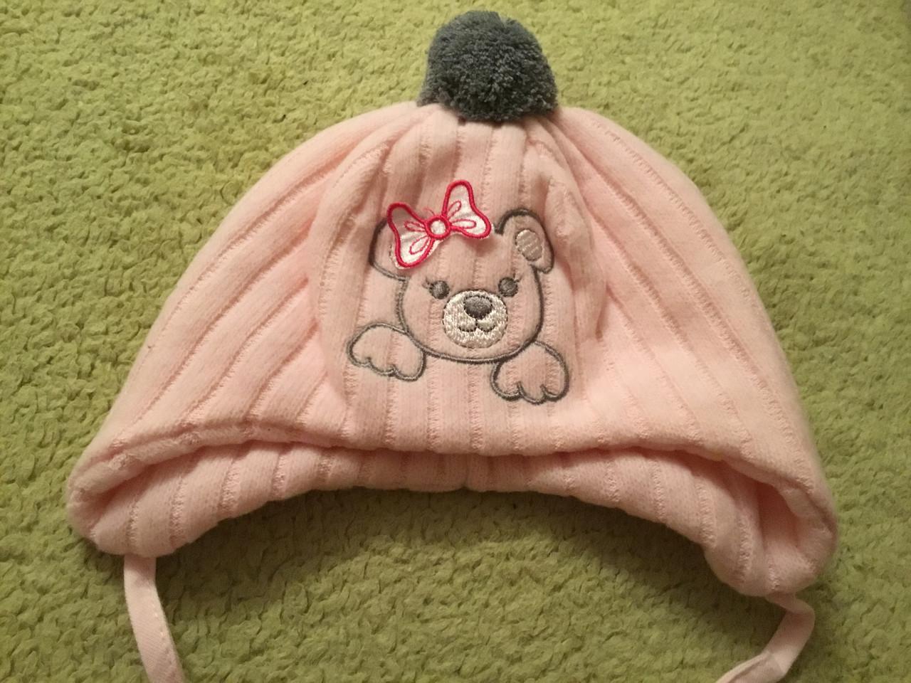 Зимняя вязаная шапочка на подкладке