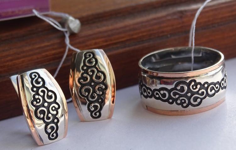 Винтажные классические серебряные серьги с золотыми пластинами