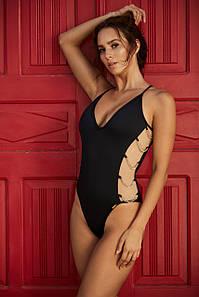 Модные чёрные слитные купальники Madora Foxi.