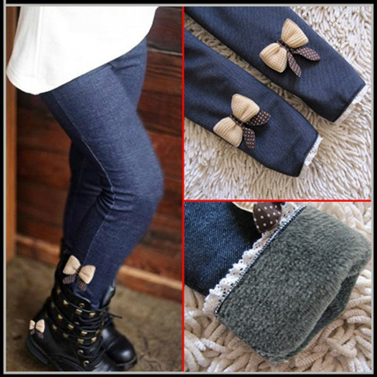 Теплые зимние детские лосины-джинсы с мехом для девочек размер 130, длина 67 см