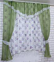 Комплект на кухню, тюль и шторки №58, Цвет оливковый
