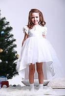 Платье нарядное детское «Белое макраме с юбкой фатин »