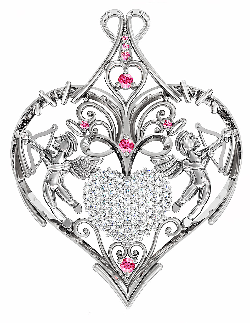 Подвеска - кулон серебряная Сердце с купидонами 411 780