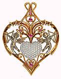 Подвеска - кулон серебряная Сердце с купидонами 411 780, фото 2
