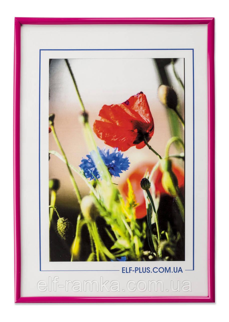 Рамка а4 из пластика - Розовый яркий - со стеклом