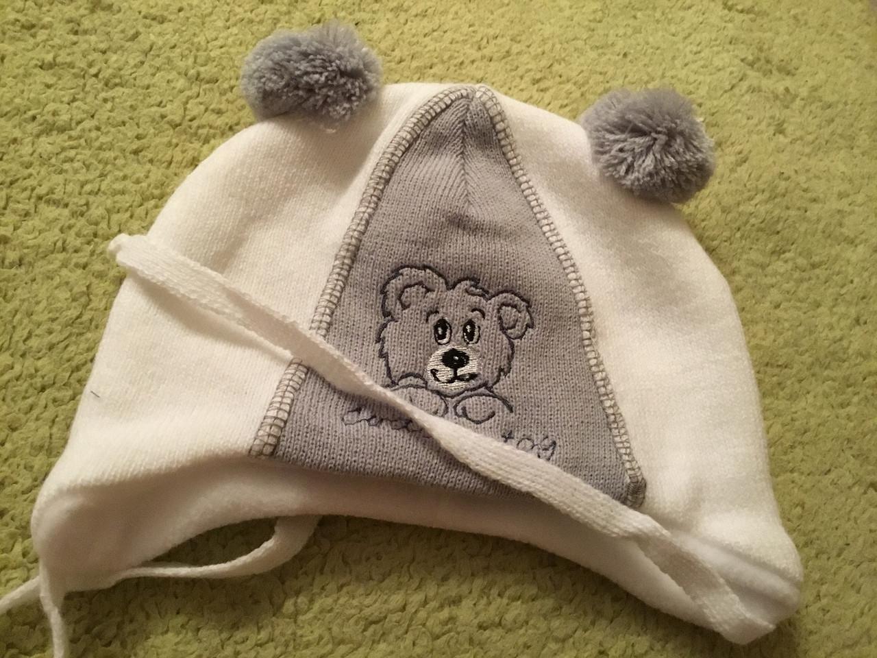 Вязаная шапочка на подкладке для мальчика