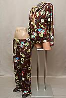 Спортивный костюм женский Турция на молнии 2-ка с цветочным принтом коричневый 50 52 54 56