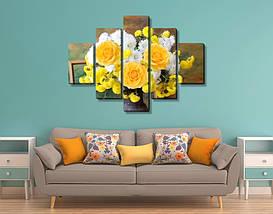 Модульная картина, холст, Цветы, 90x110см.  (30x20-2/55x20-2/90x20), фото 2