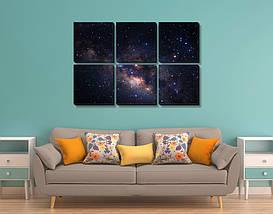 Модульная картина, холст, Космос, 62x95см.  (30x30-6), фото 2