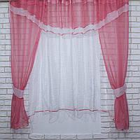 Комплект на кухню, тюль и шторки №58, Цвет розовый с белым