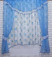 Комплект на кухню, тюль и шторки №58, Цвет голубой