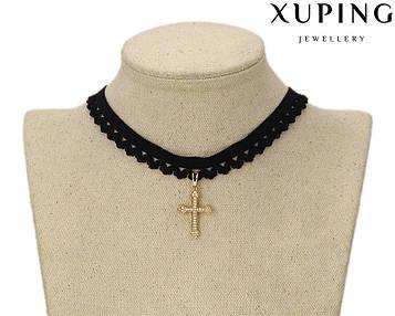 XUPING Чокер Позолота 18к Крест с цирконами Длина 40+6 см