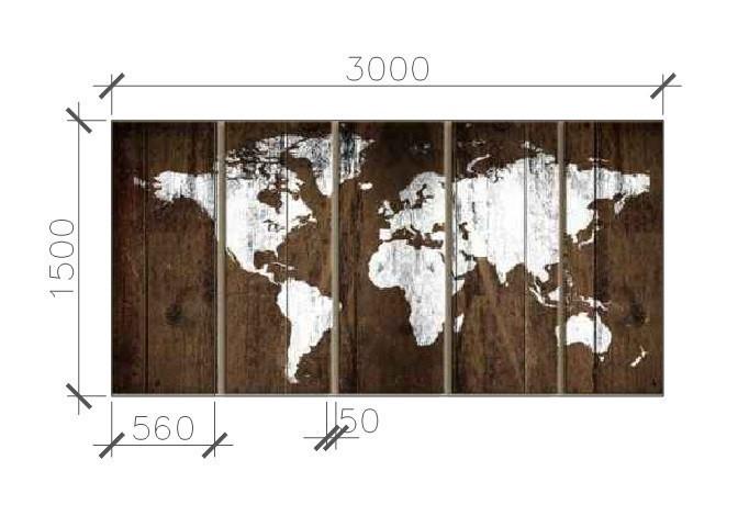 Карта мира интерьер   из дерева 3*1,5м