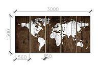 Карта мира интерьер   из дерева 3*1,5м, фото 1