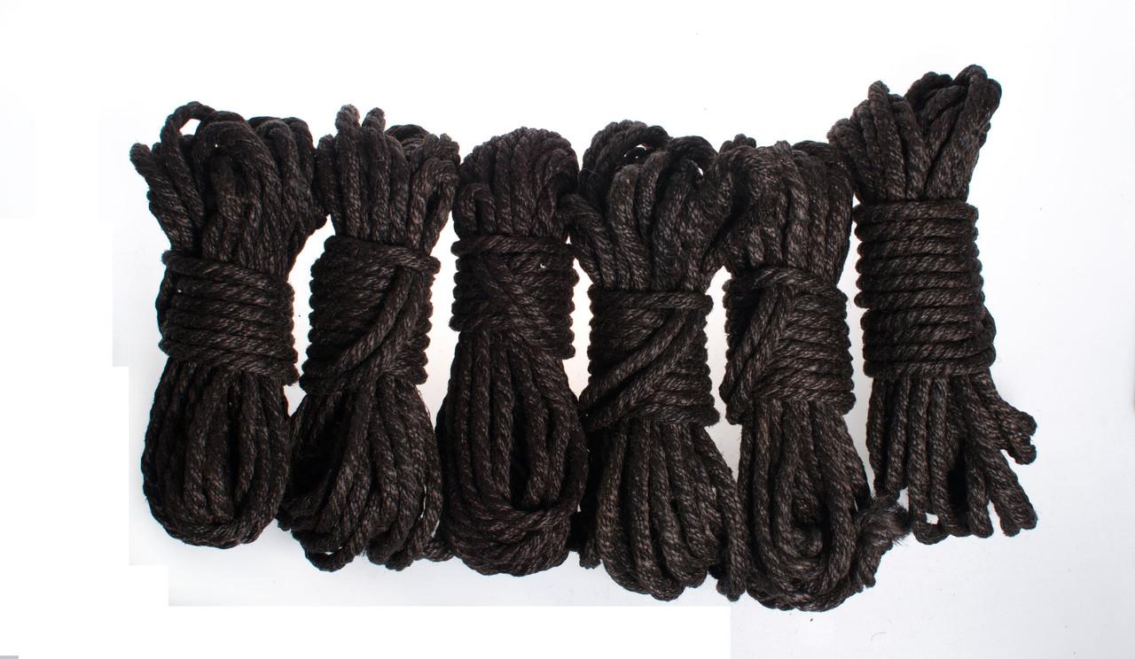 Набор веревок для шибари 6х8м. 6мм, джут. черная