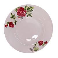 Тарелка фарфоровая суповая с принтом Цветущий пион 8' (6 штук в наборе)