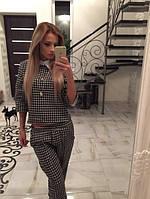 """Стильный женский костюм с оригинальным принтом """"Гусиные лапки"""""""