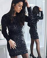 Платье с паетками. Цвет черный.