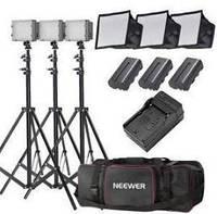 Комплект света NEEWER (3 LED светильника со стойками и софтбоксами и сумка для переноски)