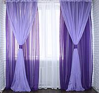 Комплект декоративных портьер из шифона с подхватами, цвет фиолетовый с сиреневым 005дк