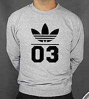 Мужской зимний спортивный свитшот на флисе, кофта Adidas 03, Адидас, Реплика