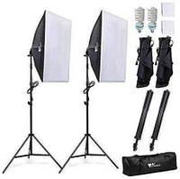 Комплект AMZDEAL PS-SYP-001 (2 софтбокса 50 x 70 см, 2 стойки, 2 лампы - сумка для переноски)