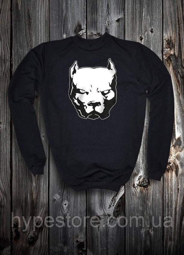 Мужской зимний спортивный свитшот на флисе, кофта Pitbull, питбуль, Реплика
