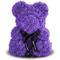 Мишка из Роз 40 см (Фиолетовый) 650 шт. 3D Роз