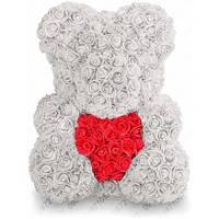 Мишка из Роз с Сердцем 40 см (Белый) 730 шт. 3D Роз