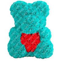 Мишка из Роз с Сердцем 40 см (Бирюзовый) 730 шт. 3D Роз
