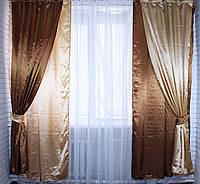 Комплект декоративных портьер, цвет коричневый с золотистым.Код 005дк