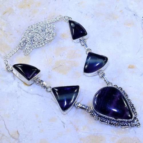 Флюорит колье ожерелье с натуральным флюоритом в серебре Индия