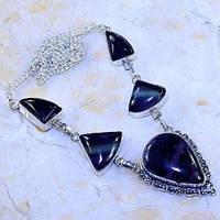 Флюорит колье ожерелье с натуральным флюоритом в серебре Индия, фото 1
