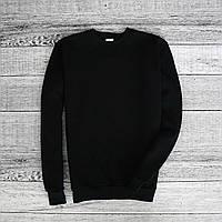 Мужской зимний спортивный свитшот на флисе, кофта черная, Реплика