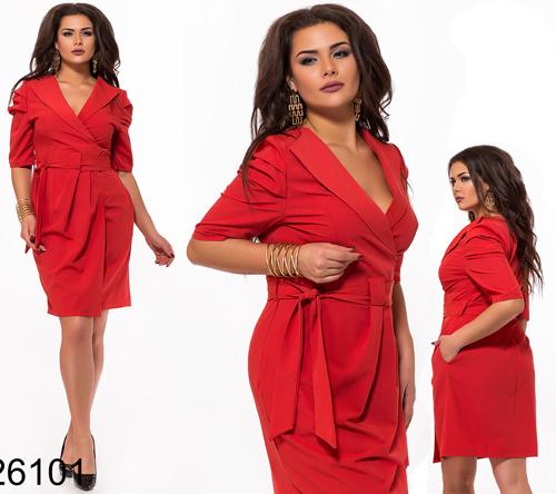 b6754c9f548 Купить Стильное платье на запах с поясом (красный) 826101 недорого ...