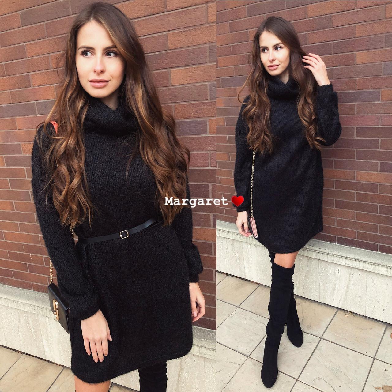 Стильно свободное платье ангора вязка с люрексом, цвет - черный