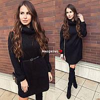 Стильно свободное платье ангора вязка с люрексом, цвет - черный, фото 1