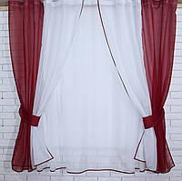 Комплект на кухню, тюль и шторки №38, Цвет бордовый с белым