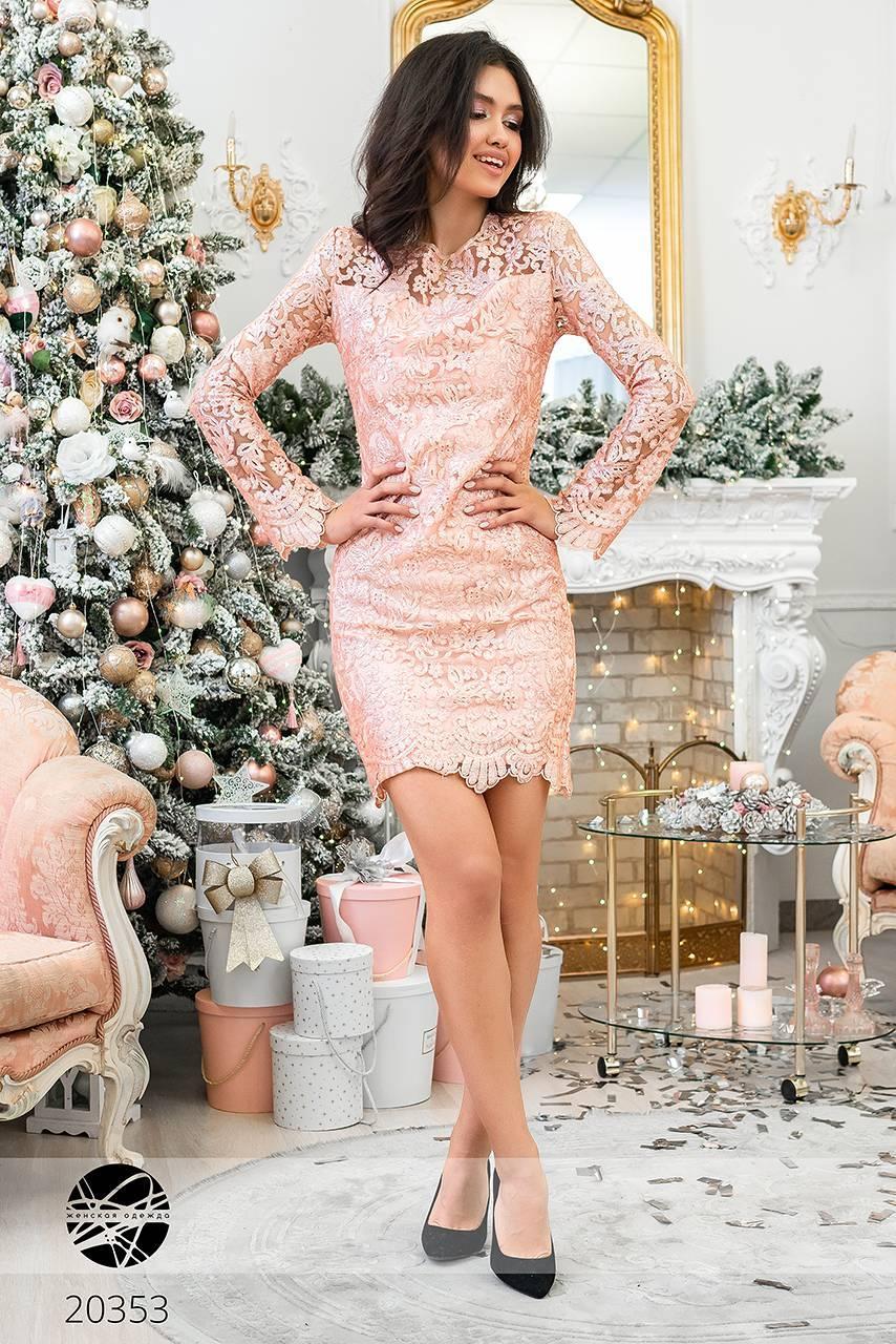 ed24de55d00 ... фото · Кружевное платье с пайетками розового цвета. Модель 20353. Размеры  42-46