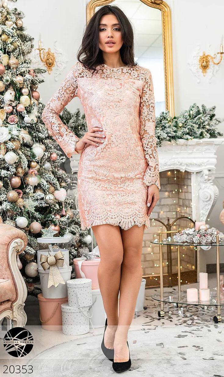 3b467e24e5a Купить Кружевное платье с пайетками розового цвета. Модель 20353 ...