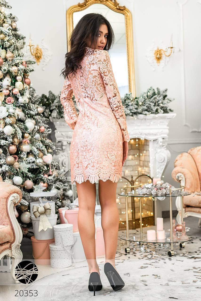 c7a7f902d99 Кружевное платье с пайетками розового цвета. Модель 20353. Размеры 42-46 ...
